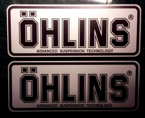 2x Ohlins silver & black Decals Stickers, Suspension, Bike, Shock,